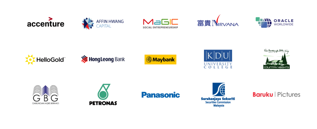 "Client List "" Accenture, Affin Hwang, MaGIC, Nirvana, Oracle Worldwide, Hello Gold, Hong Leong Bank, Maybank, KDU, Country Heights, GBG, Petronas, Panasonic, Security Commission, Baruku Pictures"""